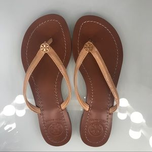 Tory Burch Terra Thong veg leather sandals  Sz 5